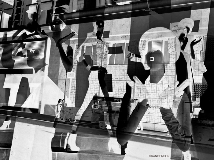 Store window collage/reflection