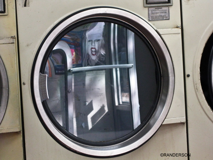 Lady Gaga in the laundromat