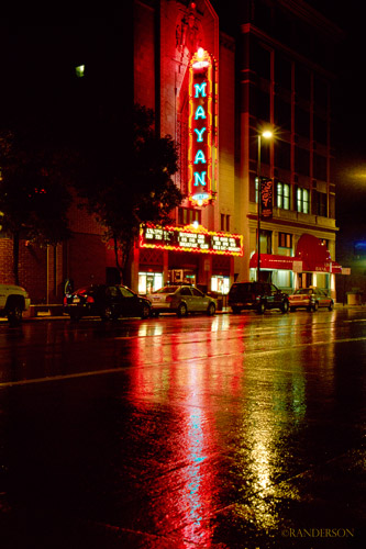 Mayan Theater, rainy night